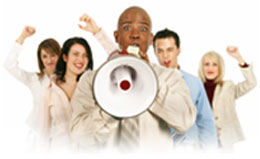 group with a megaphone image